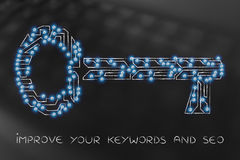 Laptop surrounded by keys with arrows, safe passwords Stock Photo