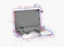 Laptop surrounded by paint splatter Stock Photo
