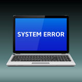 Laptop with system error message on blue screen Stock Image