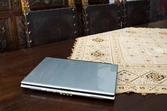 Laptop on table stock images