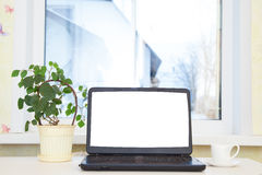 Laptop on the table. Royalty Free Stock Photo