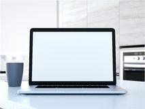 Laptop on the table. 3d rendering Royalty Free Stock Images