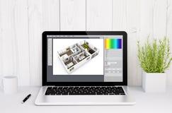 laptop on table interior design Royalty Free Stock Photos