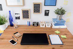 Laptop on table Stock Photos