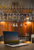 Laptop on table Royalty Free Stock Photos
