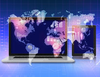 Laptop, tablet on the abstract background with. World map and icons royalty free illustration