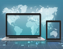 Laptop, tablet on background of world map Royalty Free Stock Photos