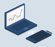 Laptop and Tablet Computers on Gray Royalty Free Stock Photography
