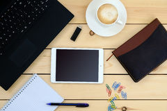 Laptop, tablet, diary, cup of coffee - business concept Stock Images