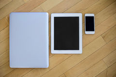 Laptop, tablet en molbile telefoon Royalty-vrije Stock Afbeeldingen