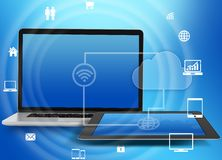 Laptop and tablet with icons networked wi-fi. royalty free illustration