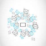 Laptop tablet message mailing concept. Abstract background Royalty Free Stock Images