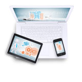 Laptop with tablet and mobile phone on, top view Royalty Free Stock Photo
