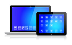 Laptop and tablet pc with blue screen Stock Image