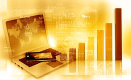 Business graph. Laptop and tablet pc  with Business graph. 3d illustration Stock Photos