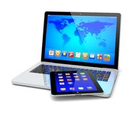 Laptop and tablet pc. Computer with colorful apps and Earth world map on a screen.  on a white. Technology 3d concept Royalty Free Stock Images