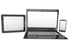 Laptop tablet pc computer and mobile smartphone Stock Image