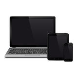 Laptop, tablet pc computer and mobile smartphone Stock Photography