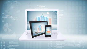 Laptop, tablet pc and smart phone Stock Photos