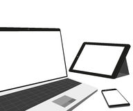 Laptop, tablet pc and smartphone Royalty Free Stock Images