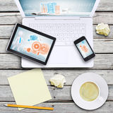 Laptop, tablet pc, smartphone and coffee cup Royalty Free Stock Image