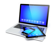 Laptop, tablet pc and smartphone Royalty Free Stock Photography