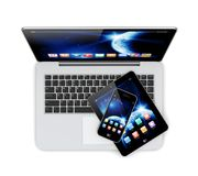Laptop, tablet pc and smartphone. Laptop, tablet pc computer and mobile smartphone with space dawn wallpaper and apps on a screen. The Earth texture of this Stock Photography