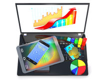 Laptop, tablet pc, smartphone, credit card, coins and diagram ar Royalty Free Stock Images
