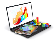 Laptop, tablet pc, smartphone, credit card, coins and diagram. Royalty Free Stock Photo