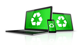 Laptop tablet PC and smartphone with a recycling symbol on scree Stock Photos
