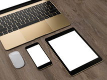Laptop, tablet, phone, all in one place. High resolution Stock Photography