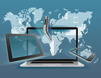 Laptop, tablet, phone on background of world map. Laptop, tablet, phone on the background of the world map with icons Royalty Free Stock Photos