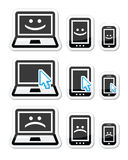 Laptop, tablet and phone with cursor arrow, happy and sad faces Stock Images