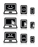 Laptop, tablet and phone with cursor arrow, happy and sad faces Royalty Free Stock Images