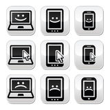 Laptop, tablet, phone with cursor, happy, sad Stock Photos
