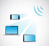 Laptop, tablet and phone wifi illustration design Royalty Free Stock Photo