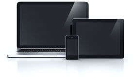 Laptop tablet and smartphone Stock Photography