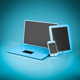 Laptop, tablet and smartphone Stock Photography