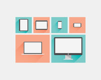 Laptop, tablet, smartphone, computer display flat  Stock Photos
