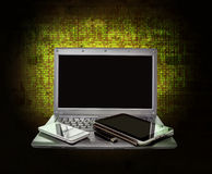 Laptop, tablet ,smartphone and USB flash drive on the background Royalty Free Stock Photo