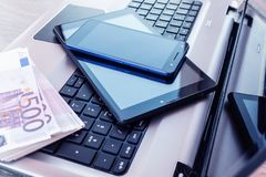 Laptop with tablet and smartphone stock images