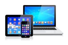 Laptop, tabletPC en smartphone Stock Foto's
