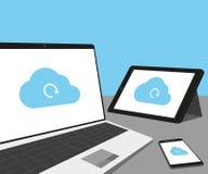 Laptop, tabletpc en smartphone met wolkensynchronisatie Stock Afbeeldingen