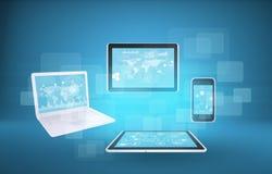 Laptop, tabletten en smartphone Royalty-vrije Stock Foto's