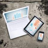 Laptop, Tabletten-PC und intelligentes Telefon Lizenzfreie Stockfotografie
