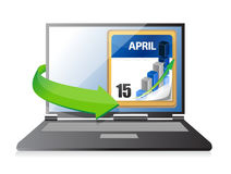 Laptop Tax Deadline Calendar illustration design Royalty Free Stock Photos