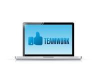 Laptop teamwork message illustration design Stock Images