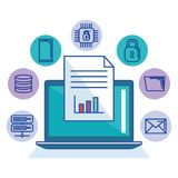 Laptop technology file document storage internet protection system. Vector illustration Stock Images