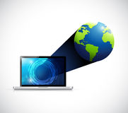 Laptop technology globe connection illustration Royalty Free Stock Photos