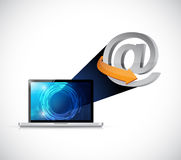 Laptop technology online at symbol connection Royalty Free Stock Photos